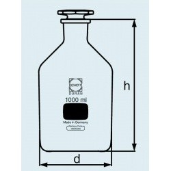 Бутыль DURAN Group 100 мл, NS14/15 узкогорлая, с пробкой, коричневое стекло (Артикул 211682401)