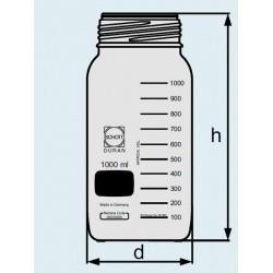 Бутыль DURAN Group 1000 мл, GLS80, широкогорлая, без крышки и сливного кольца, коричневое стекло (Артикул 1178430)