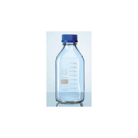 Бутыль DURAN Group 100 мл, GL32, квадратная, с крышкой и сливным кольцом, бесцветное стекло